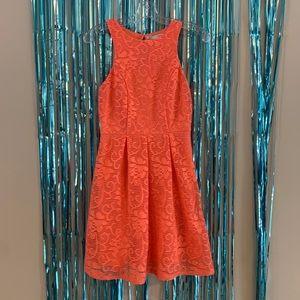 Coral Rose Fit n Flare princess mini Dress s